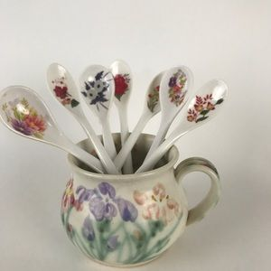 Tea Coffee Spoons and Cup Floral